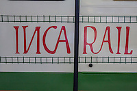 Peru, Machu Picchu.  Inca Rail Logo on Railroad Car.
