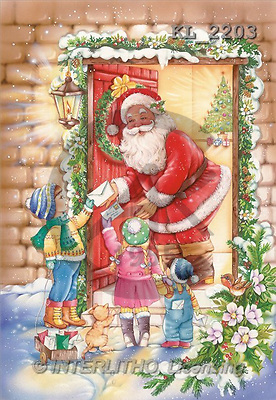 Interlitho, Michele, CHRISTMAS SANTA, SNOWMAN, paintings, santa, door, kids(KL2203,#X#) Weihnachtsmänner, Schneemänner, Weihnachen, Papá Noel, muñecos de nieve, Navidad, illustrations, pinturas