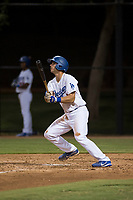 AZL Dodgers first baseman Aaron Ackerman (9) starts down the first base line during an Arizona League game against the AZL White Sox at Camelback Ranch on July 3, 2018 in Glendale, Arizona. The AZL Dodgers defeated the AZL White Sox by a score of 10-5. (Zachary Lucy/Four Seam Images)