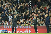 1st November 2017, Wembley Stadium, London, England; UEFA Champions League, Tottenham Hotspur versus Real Madrid; Tottenham Hotspur Manager Mauricio Pochettino looks at Real Madrid Manager Zinedine Zidane
