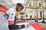 Maglia Bianca Juan Sebastián Molano Benavides (COL) UAE Team Emirates at sign on before the start of Stage 3 of Il Giro di Sicilia running 186km from Caltanissetta to Ragusa, Italy. 5th April 2019.<br /> Picture: LaPresse/Massimo Paolone | Cyclefile<br /> <br /> <br /> All photos usage must carry mandatory copyright credit (© Cyclefile | LaPresse/Massimo Paolone)