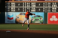 OAKLAND, CA - SEPTEMBER 9:  Carlos Correa #1 of the Houston Astros makes a play at shortstop against the Oakland Athletics during game 2 of a doubleheader at the Oakland Coliseum on Saturday, September 9, 2017 in Oakland, California. (Photo by Brad Mangin)