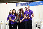 COLUMBUS, OH - MARCH 11: Texas Christian University stands at the podium with the runner-up trophy during the Division I Rifle Championships held at The French Field House on the Ohio State University campus on March 11, 2017 in Columbus, Ohio. (Photo by Jay LaPrete/NCAA Photos via Getty Images)