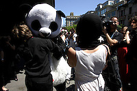 June 5, 2012-  File Photo - Montreal, Quebec, CANADA -   Anarchopanda at Montreal's Palais de Justice.<br /> <br /> A new Quebec law aimed mostly at the student protester want to ban all masks and disguised during public demonstration
