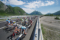 2013 Giro d'Italia.stage 11.Tarvisio - Vajont: 182km..peloton in the valley, crossing a huge river bed..