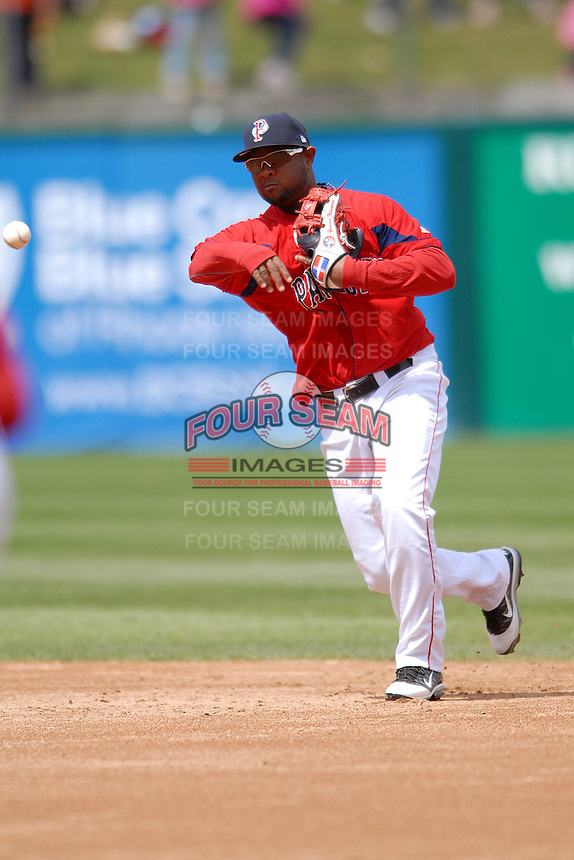 Infielder Yamaico Navarro #11 of the Pawtucket Red Sox during a game versus the Syracuse Chiefs on April 21, 2011 at McCoy Stadium in Pawtucket, Rhode Island. Photo by Ken Babbitt /Four Seam Images