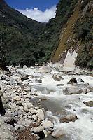 Machu Picchu, Peru - Urubamba River view from below Machu Picchu, at Aguas Calientes