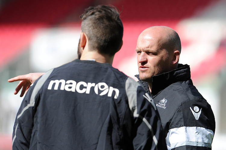 Glasgow Warriors' Head Coach Gregor Townsend during the pre match warm up<br /> <br /> Photographer Ian Cook/CameraSport<br /> <br /> Rugby Union - Guinness PRO12 Round 20 - Scarlets v Glasgow Warriors - Saturday 16th April 2016 - Parc y Scarlets - Llanelli <br /> <br /> &copy; CameraSport - 43 Linden Ave. Countesthorpe. Leicester. England. LE8 5PG - Tel: +44 (0) 116 277 4147 - admin@camerasport.com - www.camerasport.com