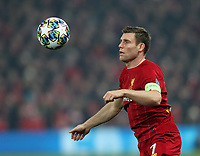 5th November 2019; Anfield, Liverpool, Merseyside, England; UEFA Champions League Football, Liverpool versus Genk; James Milner of Liverpool controls the ball with his chest  - Editorial Use