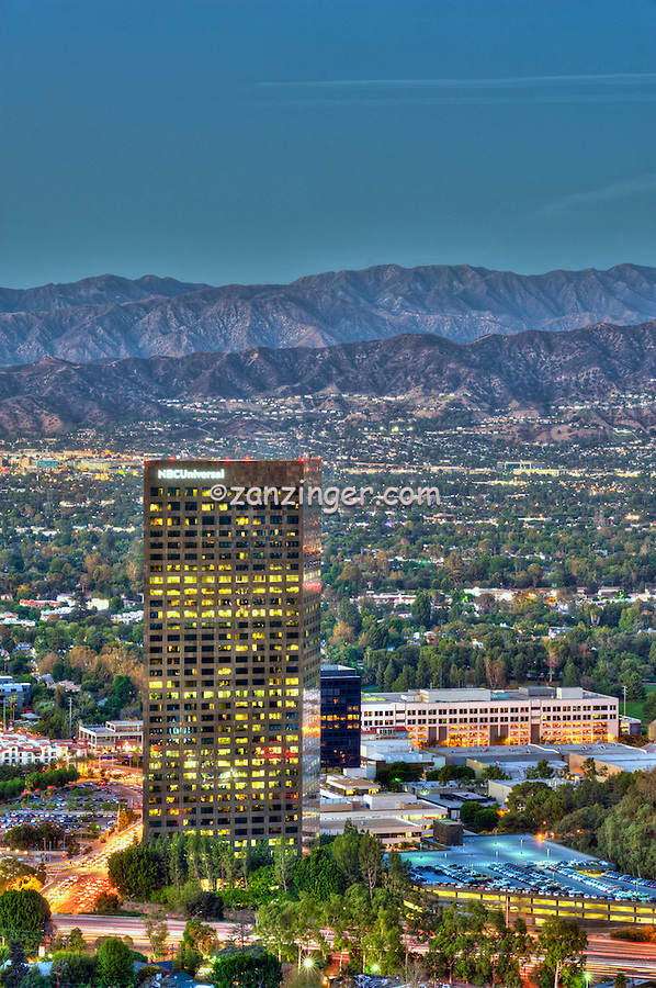 NBC/Universal City; CA; overlook; San Fernando Valley; San Gabriel mountain; Universal Studios; Burbank; Glendale; CA; , Vertical Image