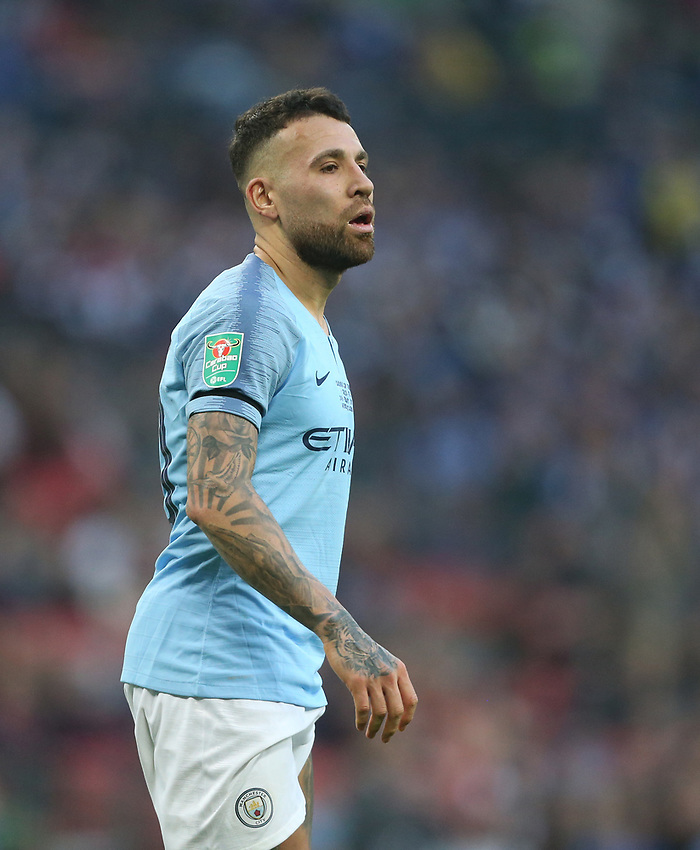 Manchester City's Nicolas Otamendi<br /> <br /> Photographer Rob Newell/CameraSport<br /> <br /> The Carabao Cup Final - Chelsea v Manchester City - Sunday 24th February 2019 - Wembley Stadium - London<br />  <br /> World Copyright © 2018 CameraSport. All rights reserved. 43 Linden Ave. Countesthorpe. Leicester. England. LE8 5PG - Tel: +44 (0) 116 277 4147 - admin@camerasport.com - www.camerasport.com