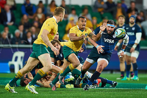 17.09.2016. Perth, Australia.  Will Genia of the Qantas Wallabies passes the ball during the Rugby Championship test match between the Australian Qantas Wallabies and Argentina's Los Pumas from NIB Stadium - Saturday 17th September 2016 in Perth, Australia.