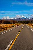Looking east down State Highway 47 towards Mount Tongariro & Ngauruhoe, Tongariro National Park, Central North Island, New Zealand
