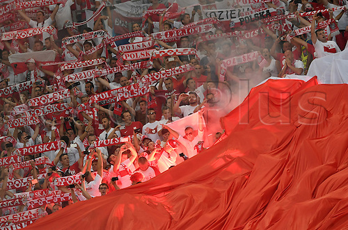 30.06.2016. Marseille, France.  Supporters of Poland cheer in the stands during the UEFA EURO 2016 quarter final soccer match between Poland and Portugal at the Stade Velodrome in Marseille, France, 30 June 2016.