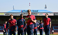 Bolton Wanderers' Josh Vela reads the matchday program on the pitch before the game<br /> <br /> Photographer Chris Vaughan/CameraSport<br /> <br /> The EFL Sky Bet League One - Scunthorpe United v Bolton Wanderers - Saturday 8th April 2017 - Glanford Park - Scunthorpe<br /> <br /> World Copyright &copy; 2017 CameraSport. All rights reserved. 43 Linden Ave. Countesthorpe. Leicester. England. LE8 5PG - Tel: +44 (0) 116 277 4147 - admin@camerasport.com - www.camerasport.com