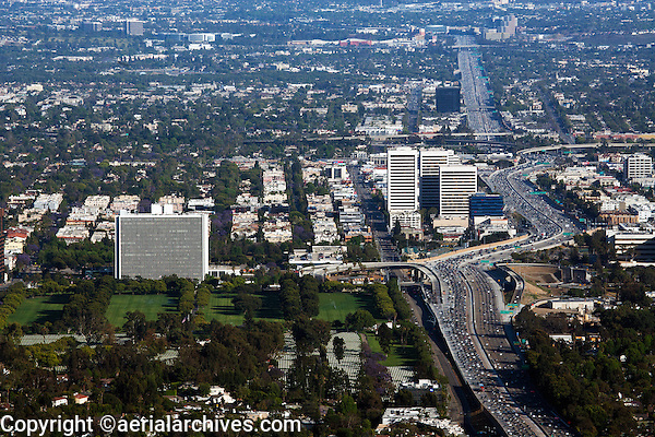 aerial photograph heavy traffic on interstate I-405 at Sherman Oaks and Van Nuys, San Fernando Valley, Los Angeles, California;