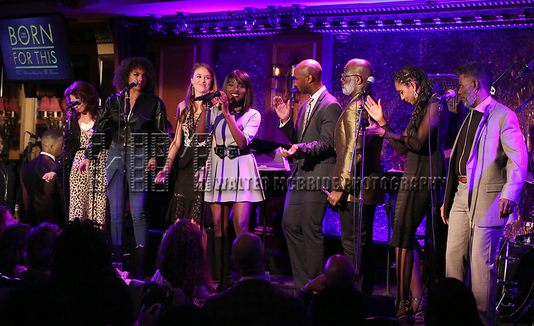 """Kirsten Wyatt, Liisi LaFontaine, Maddie Shea Baldwin, Loren Lott, Donald Webber Jr., BeBe Winans, Nita Whitaker and cast  on stage during a Song preview performance of the BeBe Winans Broadway Bound Musical """"Born For This"""" at Feinstein's 54 Below on November 5, 2018 in New York City."""
