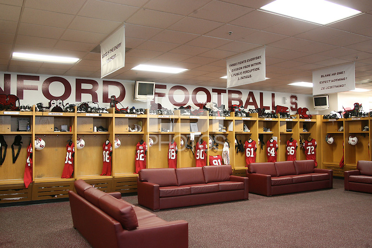 22 September 2007: Photographs of the football locker room facility in the Arrillaga Family Sports Center in Stanford, CA.