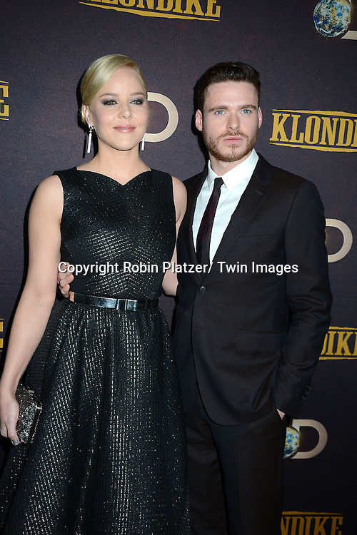 "Abbie Cornish and Richard Madden attends the premiere of Discovery Channel's first scripted series  "" Klondike"" on January 16, 2014 at Best Buy Theater in New York City. The series will run on January 20, 21 and 22, 2014."