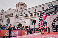 Frederik Frison (BEL/Lotto-Soudal) off the start podium<br /> <br /> stage 16: Trento &ndash; Rovereto iTT (34.2 km)<br /> 101th Giro d'Italia 2018