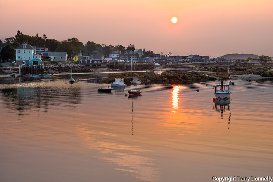 Stonington, Maine:<br /> Stonington Harbor reflections at sunrise