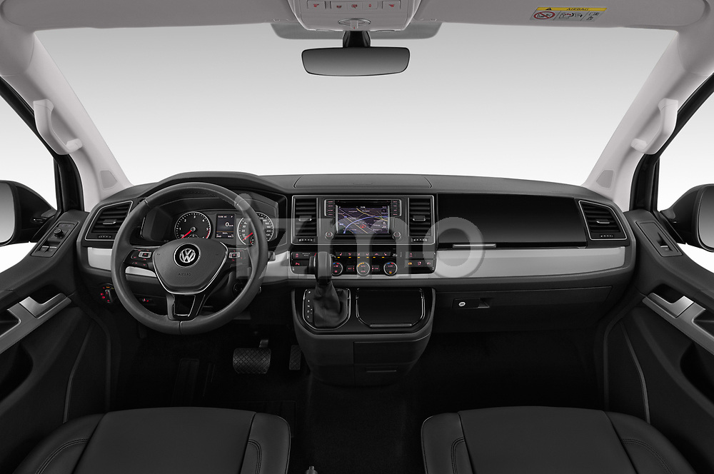 Stock photo of straight dashboard view of a 2019 Volkswagen Caravelle Highline 4 Door Passenger Van