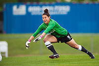 Seattle Reign FC goalkeeper Michelle Betos (18). Sky Blue FC defeated the Seattle Reign FC 2-0 during a National Women's Soccer League (NWSL) match at Yurcak Field in Piscataway, NJ, on May 11, 2013.
