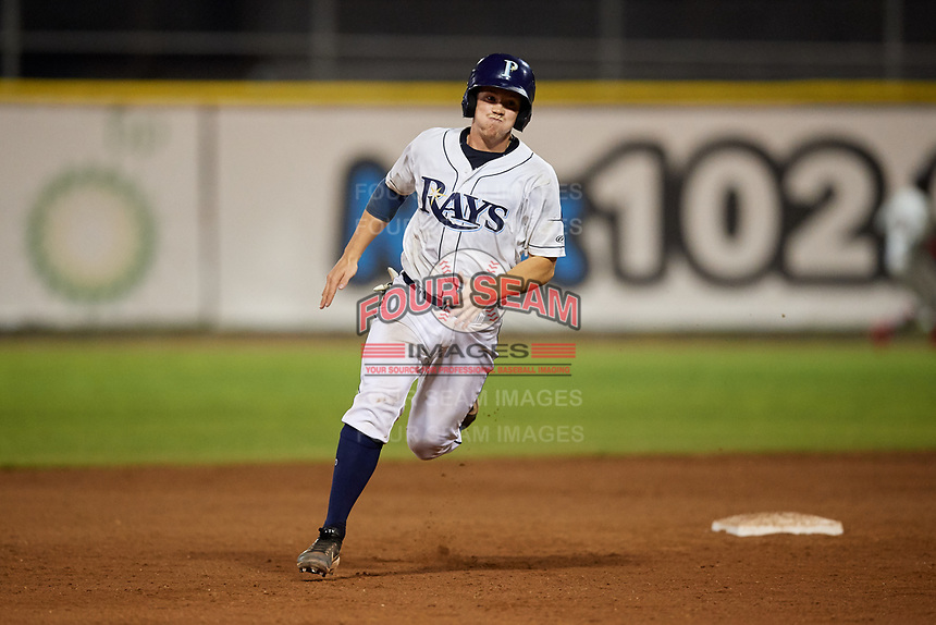 Princeton Rays catcher Jordyn Muffley (2) runs the bases during the second game of a doubleheader against the Johnson City Cardinals on August 17, 2018 at Hunnicutt Field in Princeton, Virginia.  Princeton defeated Johnson City 12-1.  (Mike Janes/Four Seam Images)