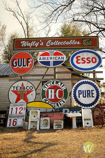 Allendale, SC. Wally's Collectables store. Old gasoline signs