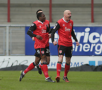 Kevin Ellison (R) of Morecambe celebrates scoring his goal against Wycombe Wanderers during the Sky Bet League 2 match between Morecambe and Wycombe Wanderers at the Globe Arena, Morecambe, England on 29 April 2017. Photo by Stephen Gaunt / PRiME Media Images.