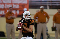 01 APRIL 2006: University of Texas freshman quarterback hopeful, Colt McCoy, throws the ball at Darrell K. Royal Memorial Stadium during the Longhorns annual spring Orange vs White Scrimmage.