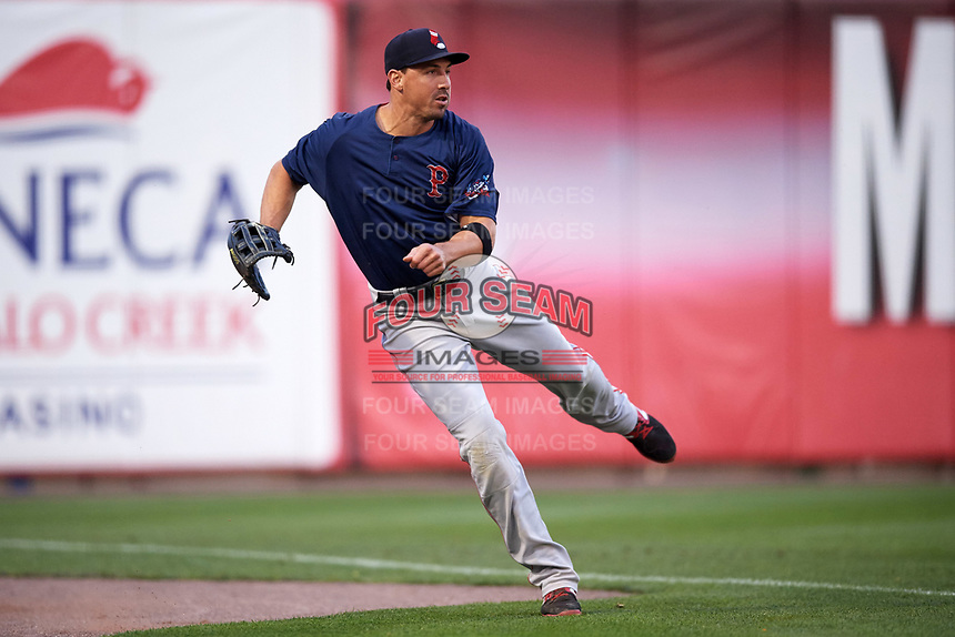 Pawtucket Red Sox left fielder Brian Bogusevic (16) throws the ball in during a game against the Buffalo Bisons on August 31, 2017 at Coca-Cola Field in Buffalo, New York.  Buffalo defeated Pawtucket 4-2.  (Mike Janes/Four Seam Images)