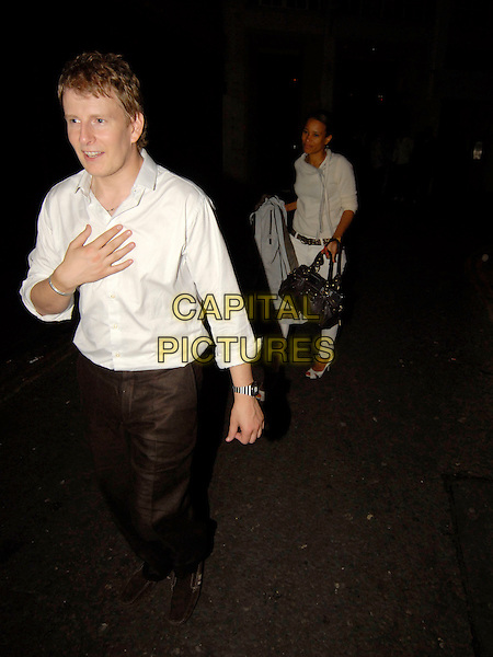 PATRICK KIELTY.With a mystery girl leaving the Cuckoo Club, London, England, around 2am 30th June 2007..full length white shirt .CAP/SW.©Stephen Walters/Capital Pictures.*Exclusive*