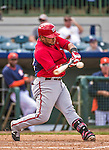 12 March 2014: Washington Nationals catcher Jhonatan Solano in action during a Spring Training game against the Houston Astros at Osceola County Stadium in Kissimmee, Florida. The Astros rallied in the bottom of the 9th to edge out the Nationals 10-9 in Grapefruit League play. Mandatory Credit: Ed Wolfstein Photo *** RAW (NEF) Image File Available ***
