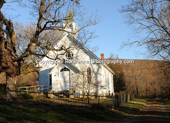 Old white Church in fall with dirt road Shepherdstown Jefferson County West Virginia, Shepherdstown oldest town in West Virginia 1734, Thomas Shepherd granted 222 acres on south side Potomac river, Mecklenburg, Shepherd University, Fine Art Photography by Ron Bennett, Fine Art, Fine Art photography, Art Photography, Copyright RonBennettPhotography.com ©