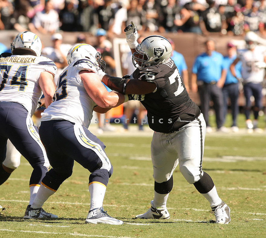 Oakland Raiders Justin Ellis (78) during a game against the San Diego Chargers on October 12, 2014 at O.co Coliseum in Oakland, CA. The Chargers beat the Raiders 31-28.