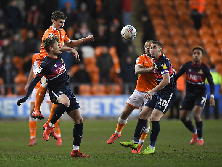 Blackpool's Matty Virtue in action<br /> <br /> Photographer Dave Howarth/CameraSport<br /> <br /> The EFL Sky Bet League One - Blackpool v Doncaster Rovers - Tuesday 12th March 2019 - Bloomfield Road - Blackpool<br /> <br /> World Copyright © 2019 CameraSport. All rights reserved. 43 Linden Ave. Countesthorpe. Leicester. England. LE8 5PG - Tel: +44 (0) 116 277 4147 - admin@camerasport.com - www.camerasport.com