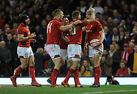 Wales' Jonathan Davies celebrates scoring his side's second try with team-mate Gareth Anscombe<br /> <br /> Photographer Ian Cook/CameraSport<br /> <br /> Under Armour Series Autumn Internationals - Wales v Scotland - Saturday 3rd November 2018 - Principality Stadium - Cardiff<br /> <br /> World Copyright &copy; 2018 CameraSport. All rights reserved. 43 Linden Ave. Countesthorpe. Leicester. England. LE8 5PG - Tel: +44 (0) 116 277 4147 - admin@camerasport.com - www.camerasport.com