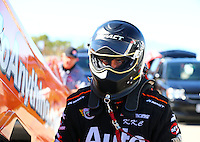 Oct 30, 2015; Las Vegas, NV, USA; NHRA funny car driver Brandon Welch during qualifying for the Toyota Nationals at The Strip at Las Vegas Motor Speedway. Mandatory Credit: Mark J. Rebilas-USA TODAY Sports