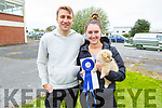 Wayne Hayes, Sinead McCourt and Archie the dog from Abbeyfeale at the dog show in Ballybeggan on Saturday