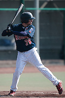 11 April 2010: Quentin Benedek of Rouen is seen at bat during game 1/week 1 of the French Elite season won 5-1 by Rouen over Montigny, at the Cougars Stadium in Montigny le Bretonneux, France.