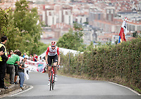 up the brutal (last climb) Alto de Arraiz (up to 25% gradients!), 7km from the finish <br /> <br /> Stage 12: Circuito de Navarra to Bilbao (171km)<br /> La Vuelta 2019<br /> <br /> ©kramon