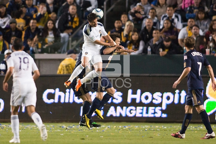 LA Galaxy forward Juan Pablo Angel (9) takes a shot on goal. The LA Galaxy defeated the Philadelphia Union 1-0 at Home Depot Center stadium in Carson, California on  April  2, 2011....