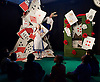 Southbank Centre's Imagine Children's Festival <br /> at the Royal Festival Hall, Southbank, London, Great Britain <br /> 13th February 2015 <br /> <br /> <br /> <br /> <br /> Children watch Alice's House of Cards <br /> with Evelyn Hoskins and Alice<br /> and Ben Ingles as Knave of Hearts <br /> <br /> <br /> Photograph by Elliott Franks <br /> Image licensed to Elliott Franks Photography Services