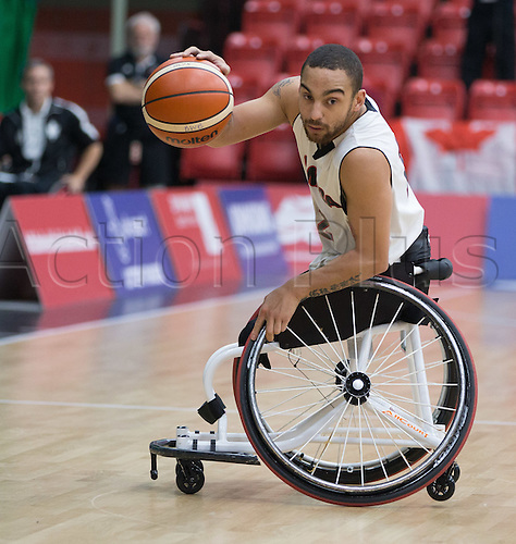 03.07.2016. Leicester Sports Arena, Leicester, England. Continental Clash Wheelchair Basketball, England versus Canada. Deion Green (CAN) in possession of the ball