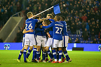 Oldham Athletic's Eoin Doyle (C) celebrates scoring his side's fourth goal with team-mate  during the Sky Bet League 1 match between Oldham Athletic and Rochdale at Boundary Park, Oldham, England on 18 November 2017. Photo by Juel Miah/PRiME Media Images