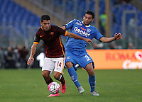 Calcio, Serie A: Roma vs Empoli. Roma, stadio Olimpico, 17 ottobre 2017.<br /> Roma&rsquo;s Iago Falque, left, is challenged by Empoli&rsquo;s Marco Zambelli during the Italian Serie A football match between Roma and Empoli at Rome's Olympic stadium, 17 October 2015.<br /> UPDATE IMAGES PRESS/Isabella Bonotto