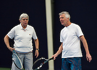 Hilversum, The Netherlands, March 09, 2016,  Tulip Tennis Center, NOVK, Mixed Doubles, Peter Gerritsen and Wil Baks<br /> Photo: Tennisimages/Henk Koster
