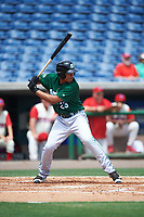 Daytona Tortugas first baseman Avain Rachal (23) bats during a game against the Clearwater Threshers on April 20, 2016 at Bright House Field in Clearwater, Florida.  Clearwater defeated Daytona 4-2.  (Mike Janes/Four Seam Images)