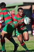 Misi Tupou takes the inside pass from Notise Tauafoa. Counties Manukau Premier Club Rugby game bewtween Waiuk & Karaka played at Waiuku on Saturday April 11th, 2010..Karaka won the game 24 - 22 after leading 21 - 9 at halftime.